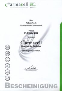 Graber GmbH Zertifikat armacell Bauleiter Seminar