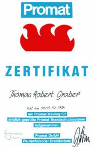 Graber GmbH Zertifikat Promat Brandschutz