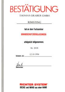 Graber GmbH Zertifikat Brandschutz
