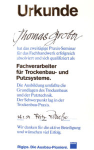 Graber GmbH Zertifikat Fachverarbeiter für Trocenbau-und Putzsysteme