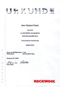 Graber GmbH Zertifikat Rockwool Weiterbildung